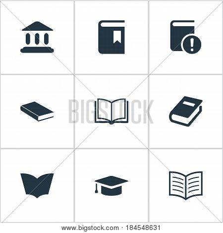 Vector Illustration Set Of Simple Reading Icons. Elements Book Cover, Important Reading, Academic Cap And Other Synonyms Hat, Bookmark And Textbook.