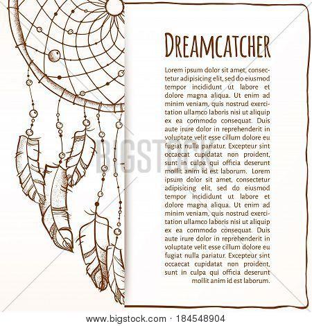 Vector illustration. Ethnic totem Dreamcatcher. Doodle. invitation with Dreamcatcher