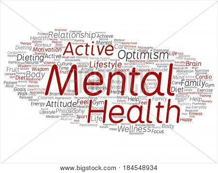 Concept or conceptual red mental health or positive thinking abstract word cloud isolated background. Collage of optimism, psychology, mind, healthcare, thinking, attitude balance or motivation text