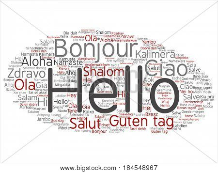 Concept or conceptual red gray abstract hello or greeting international tourism word cloud in different languages or multilingual. Collage of world, foreign, worldwide travel, translate, vacation text