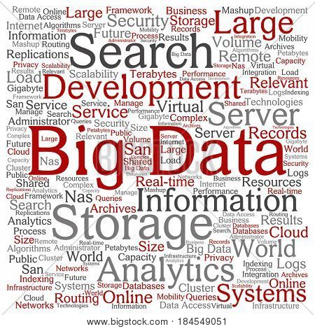Concept or conceptual red big data large size storage systems square word cloud isolated background. Collage of search analytics world information, nas development, future internet mobility text
