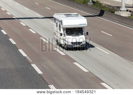 Frankfurt Germany - March 30 2017: Mercedes Benz Sprinter 416 CDI Eura Mobil Motorhome on the highway in Germany