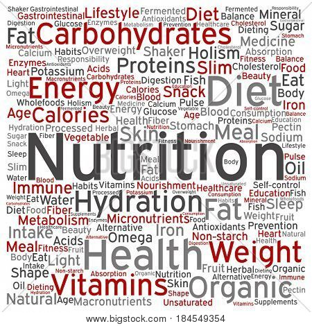 Concept or conceptual red nutrition health diet square word cloud isolated background. Collage of carbohydrates, vitamins, fat, weight, energy, antioxidants beauty medicine, mineral, protein text