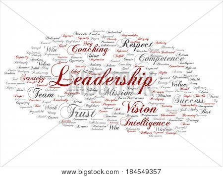 Concept or conceptual red gray business leadership strategy, management value word cloud isolated background. Collage of success, achievement, responsibility, authority intelligence or competence text