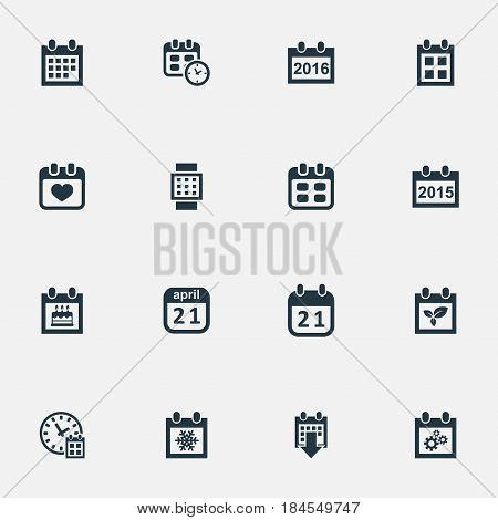 Vector Illustration Set Of Simple Date Icons. Elements 2016 Calendar, Plant, Deadline And Other Synonyms Heart, Watch And Date.
