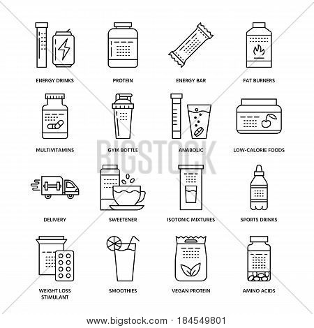 Sport nutrition flat line icons. Bodybuilding food, energy bar, protein, amino acids, anabolic, vitamins. Thin linear signs for gym fitness shop.