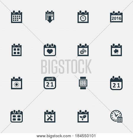 Vector Illustration Set Of Simple Time Icons. Elements Date Block, Renovation Tools, Remembrance And Other Synonyms Almanac, Agenda And Summer.