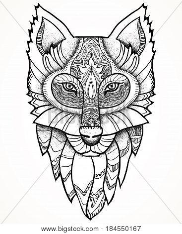 Vector illustration. Ethnic totem Wolf. Doodle. Tattoo.