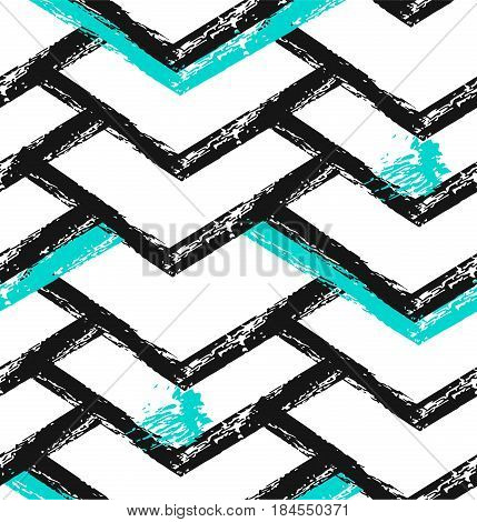 Geometric art print, abstract modern and trendy design, minimalistic unusual nordic universal seamless pattern in black and white, mint colors isolated