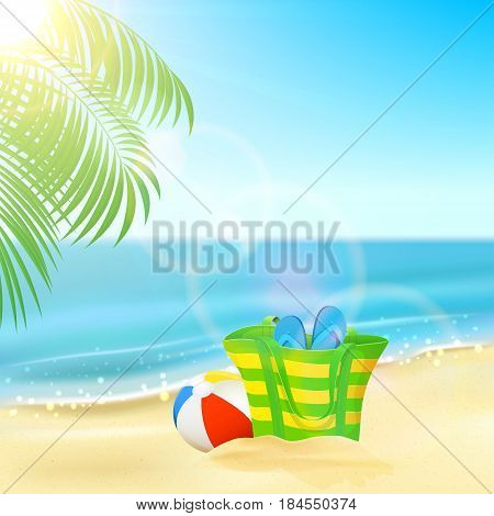 Sun sparkling ocean and palms, tropical background with beach bag, flip-flops and ball on the sandy beach, illustration.