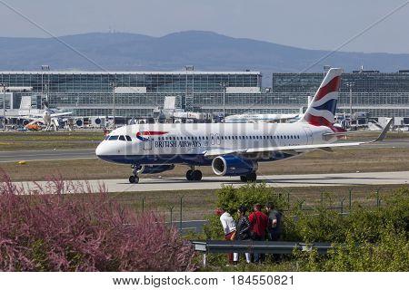 Frankfurt Germany - March 30 2017: British Airways Airbus A321-231 at the Frankfurt international airport