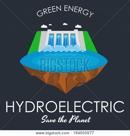 alternative energy power industry, hydroelectric power station factory electricity on water ecology concept, technology of renewable aqua generator station vector illustratin.