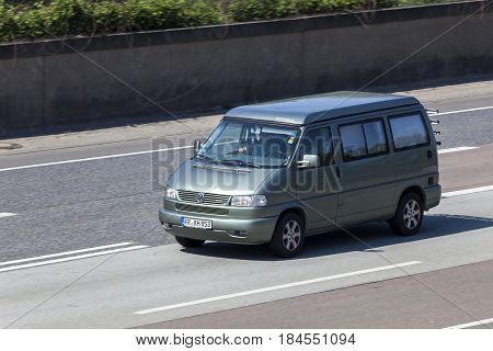 Frankfurt Germany - March 30 2017: Volkswagen Transporter T4 Westfalia camper van on the highway A5 direction south in Germany