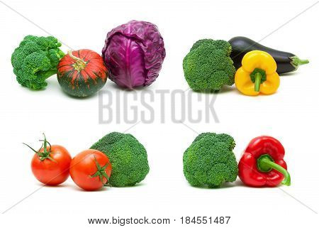 Broccoli and other vegetables isolated on white background. Horizontal photo.