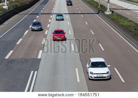 Frankfurt Germany - March 30 2017: Traffic on the autobahn A5 - highway number 5 - near the city of Frankfurt Main Germany