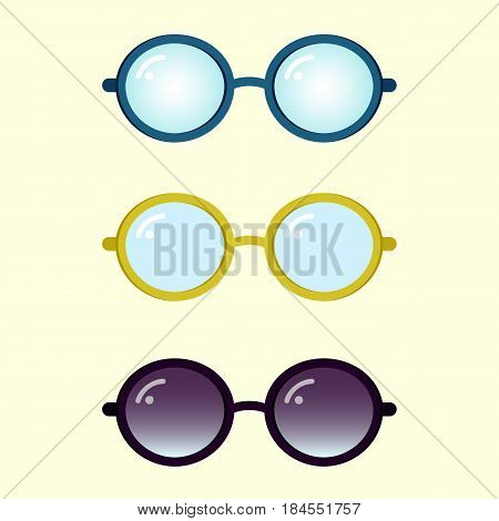 Colorful flat vector glasses set, nice rounded glasses and sunglasses