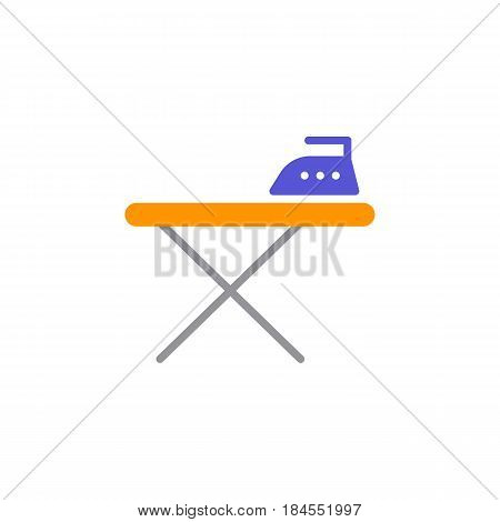 Ironing board and iron icon vector filled flat sign solid colorful pictogram isolated on white. Symbol logo illustration