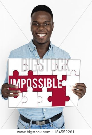Impossible word puzzle pieces graphic