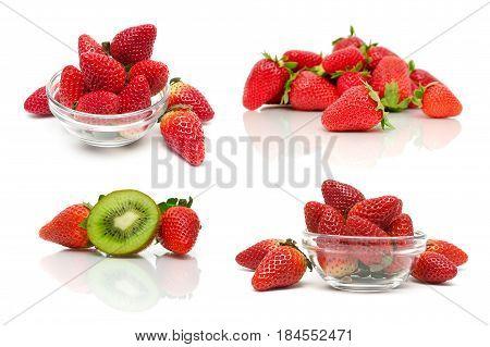 Ripe juicy strawberries isolated on white background. Horizontal photo.