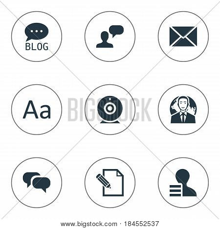 Vector Illustration Set Of Simple Blogging Icons. Elements Gain, Broadcast, International Businessman And Other Synonyms Forum, Post And Globe.
