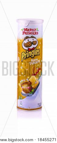Russia Kamchatka - April 30 2017: Pringles is a brand of potato owned by the Kellogg Company. of potato snack chips sold in 140 countries with yearly sales of more than US 1.4 billion dollars.