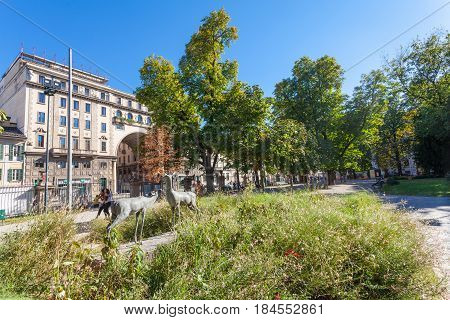 MILAN ITALY - September 06 2016: Sculptures of two deers are near Milan Natural History Museum Museo Civico di Storia Naturale di Milano