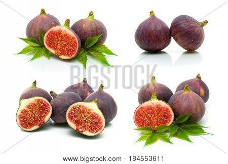 Ripe figs isolated on white background. Horizontal photo.