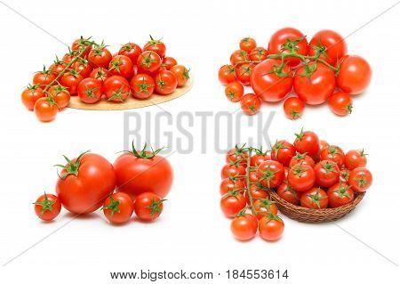 Ripe tomatoes isolated on white background. Horizontal photo.