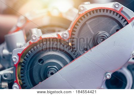 Inside Vehicle Motor Engine Gear Automatic Rotary Transmission.