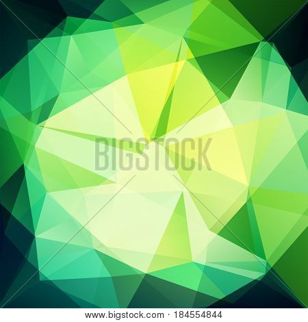 Background Made Of Green, White, Yellow Triangles. Square Composition With Geometric Shapes. Eps 10