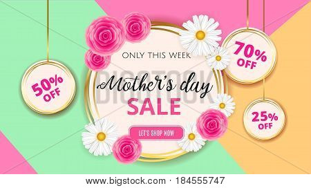 Mother's Day Sale Background Template With Flowers, Roses And Camomiles For Banner, Ads, Flyers, Inv