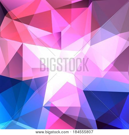 Geometric Pattern, Polygon Triangles Vector Background In Pink, Blue Tones. Illustration Pattern
