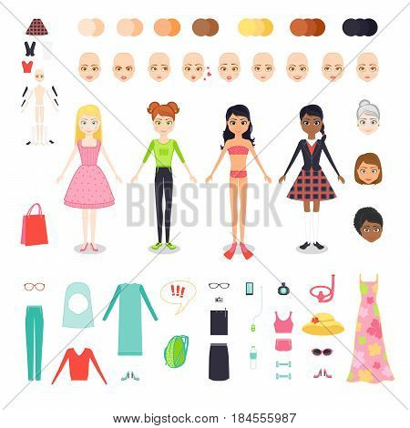 Vector flat set illustration of figure pretty girl. Character constructor of woman with different skin color, hair and age. Female clothing and accessories for seaside holiday, sports, work and study