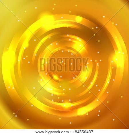 Vector Round Frame. Shining Circle Banner. Glowing Spiral. Vector Illustration. Yellow, Orange Color