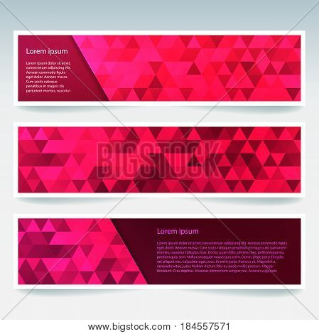 Horizontal Banners Set With Red Polygonal Triangles. Polygon Background, Vector Illustration
