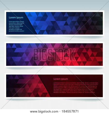 Abstract Banner With Red, Blue Business Design Templates. Set Of Banners With Polygonal Mosaic Backg