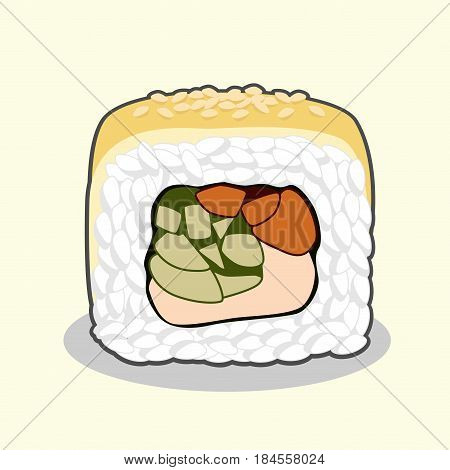 Vector illustration of the cut uramaki sushi golden dragon roll with eel fish, sesame seeds, cream cheese, cucumber and avocado isolated on a light background.