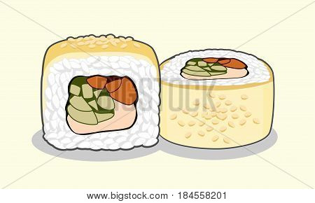 Vector illustration of golden dragon uramaki sushi roll with eel fish, sesame seeds, cream cheese, cucumber and avocado isolated on a light background.