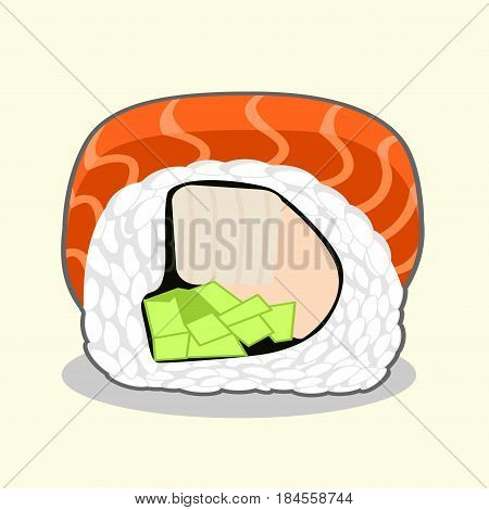 Cut red dragon uramaki sushi roll with salmon fish, cucumber, avocado, cream cheese and japanese omelette. Vector illustration isolated on a light background.