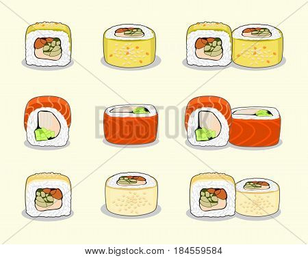 Sushi set of golden, green and red dragon uramaki sushi rolls. Vector illustration isolated on a light background.