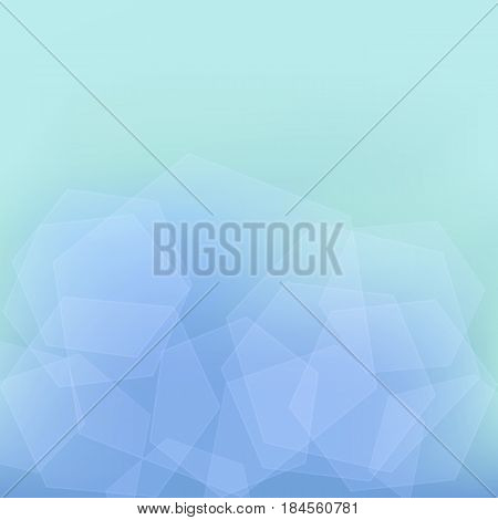 Transparent Hexagons on an Abstract Blue Background.