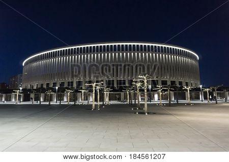 Krasnodar, Russia - April 27, 2016: Night shot of the new stadium of FC Krasnodar on April 27, 2017