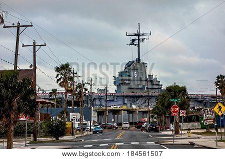 CORPUS CHRISTI TEXAS USA - April 2017 - Aircraft carrier USS Lexington docked in Corpus Christi