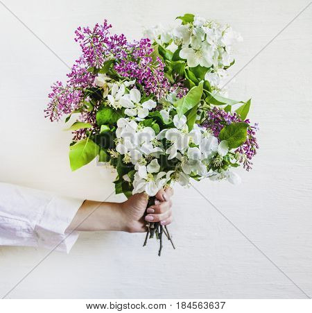 Bouquet of spring flowers in a female hand on a white background