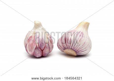 Garlic isolated on white background. Horizontal photo.