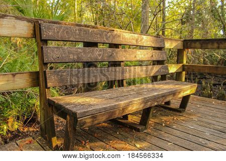 Abandoned bench with vows of love etched in its surface.