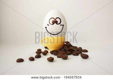 Egg With A Face. Funny And Cute To A Coffee Mug