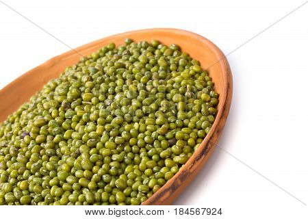Mung beans isolated on white background. close up