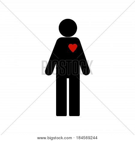 Vector illustration. stick figure with red heart