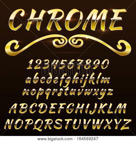 Chrome shiny retro, vintage font, typeface, mado of metal or steel.